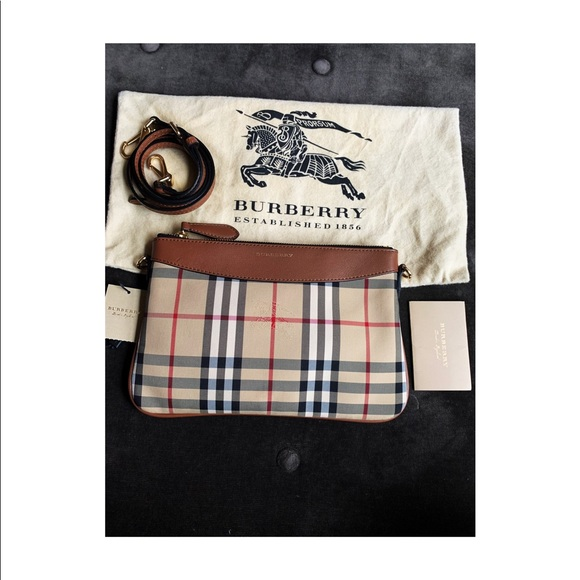 Burberry Horseferry check canvas sling bag NWT
